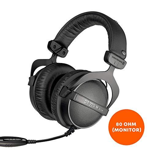 beyerdynamic DT 770 M 80 Ohm Over-Ear-Monitor Kopfhörer in schwarz, Geschlossene Bauweise, kabelgebunden, Lautstärkenregler für Schlagzeuger und Toningenieure FOH thumbnail