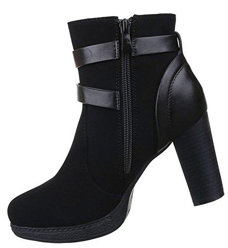 Damen Stiefeletten Schuhe Boots Schnalle Schwarz 36 37 38 39 40 41 Schwarz