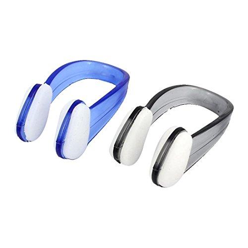 Schwimmen Nasenklammer - SODIAL(R) Schwimmen, Tauchen, Kunststoff-Nasenklammer Displayschutzfolie, 2 Stueck, blau/schwarz