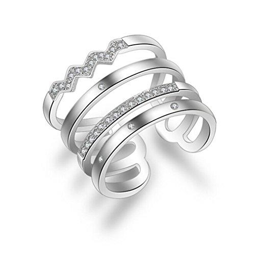 Shawa Damen-Ringe Freundschaftsringe Eheringe Verlobungsringe Trauringe Wickelring 925 Sterling Silber Zirkon Ultra Flash Verstellbar Ewige Liebe