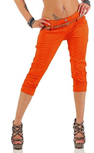Danaest Damen Capri Hose inkl. Gürtel (624), Farbe:Orange, Grösse:XL/42