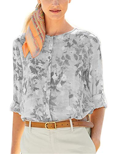 CuteRose Womens Printing Button-up Crew-Neck Tops Long-Sleeve Western Shirt Grey M