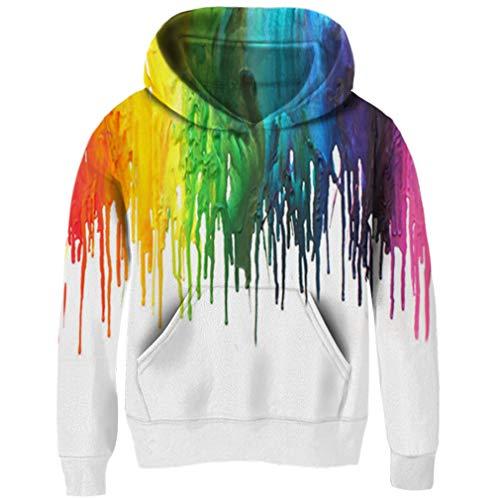 (Funnycokid Jungen Kapuzenpullover 3D Drucken Schwarz Gemälde Vlies Pullover Neuheit Mädchen Sweatshirts Pullover Kapuzenpullover , Weiße Tinte - S (3-4T))