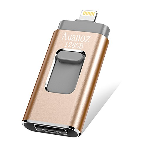 IOS Flash Drives 128 GB iPhone Memory Stick, Auanoz External Storage Memory Stick Adapter Expansion for iPod/iPhone/iPad/Android & Computers (Gold) (Memory Expansion Card)