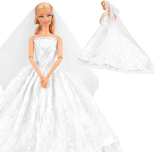 Miunana vestito abito da sposa stile principessa per festa di sera con velo per 11.5 pollici 28 - 30 cm bambola