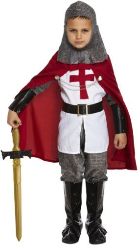 Jungen Mittelalter Crusader Knight Kinder Fancy Kleid ST GEORGE Kostüm 4-12Jahre Welt Buch Tag/Woche