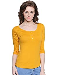 The Dry State Women's Mustard Yellow Henley 3/4 Sleeves Tshirt