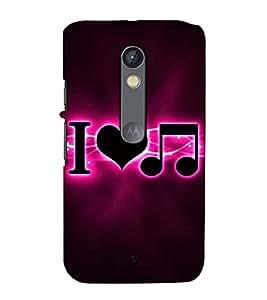 Fuson Designer Back Case Cover for Motorola Moto X Play (I love music )