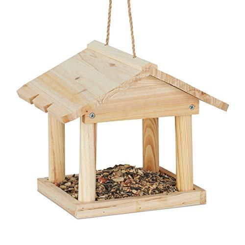 Relaxdays casetta per uccelli da appendere, per giardino & balcone, trattato, mini mangiatoia, legno naturale, 22 x 26 x 22 cm