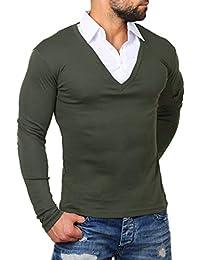 ReRock Herren 2in1 Longsleeve Hemd Kragen Shirt Pullover Langarm mit Tiefem  V-Ausschnitt Einfarbig Slimfit… 7930437c0a