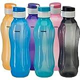 Amazon Brand - Solimo Plastic Water Bottle Set with Flip Cap (6 pieces, Multicolor, Wavy pattern)
