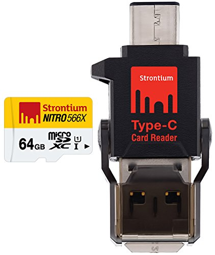 Strontium 64 GB Nitro 85Mbps MicroSD Card with Type-C Reader  available at amazon for Rs.1857