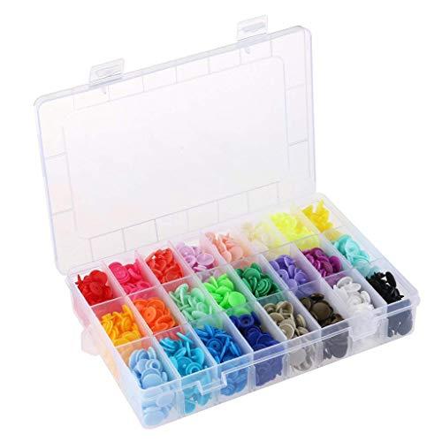 Yncc 1 Set (408) ± 10) Stück) In 24 Regenbogenfarben Kunststoff-Druckknöpfe, keine Nähte T5 Druckknöpfe Nähvorschläge Verschlüsse Druckknöpfe, Verwendet in Kleidung Stoffwindeln Handtücher, 12 mm