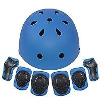 Kids Protective Gear Set 7Pcs Sport Safety Equipment Adjustable Child Helmet