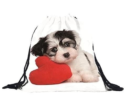 Rcool 3D-Druck Unisex Hund Polyester Rucksäcke Taschen Tunnelzug Rucksack Weiß