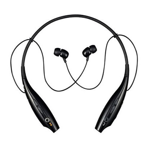HIMTRONICS HBS 730 Wireless Bluetooth Black Headphones WiFi Bluetooth Compatible Stereo Headset Premium Quality Lightweight Neckband Headphone Earpod Sport Earphone With Call Functions For Gymming , Running And Sports Activity Compatible With Nokia Lumia 730 Dual SIM And Other Smartphones