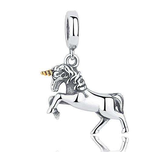 Einhorn-Charm, 925Sterling-Silber, für Pandora, für europäische Armbänder geeignet