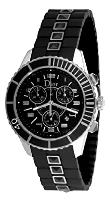Christian Dior Unisex CD114317R001 Christal Chronograph Diamond Black Dial Watch