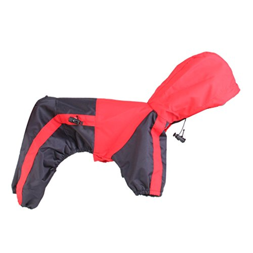 Generic PU Leather Pet Dog Puppy Raincoat Poncho Apparel Red with Black Size M