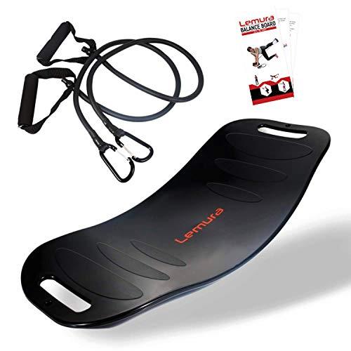 Lemura All in One Fitness Balance Board - inkl. 2 Abnehmbaren Fitnessbändern - Das perfekte Twist Board für Gleichgewicht und Energie im Alltag