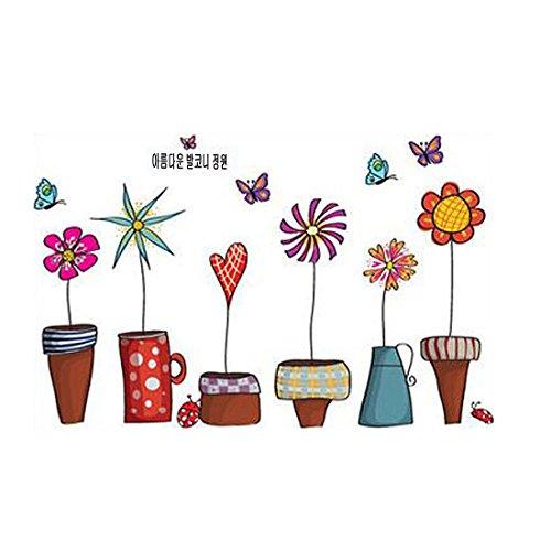Sourcingmap, a14072600ux0171, Colorful fiori fai da te Home Decor Wall Sticker con le farfalle ')