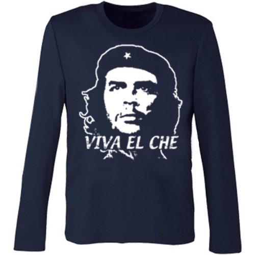 Marken Langarm Shirt - Motiv Viva El Che - Langarmshirt Geschenk Weihnachten Geburtstag Herren Rundhals Navy-Blau