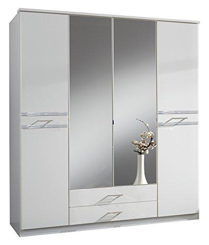Wimex 103453 Drehtürenschrank, Holz, alpinweiß/strasskristall/chrom glänzend, 58 x 180 x 197 cm