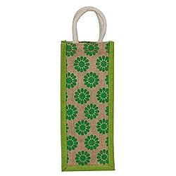 Utsav Kraft Jute Green Floral Print Designer Water Bottle Carry Bag