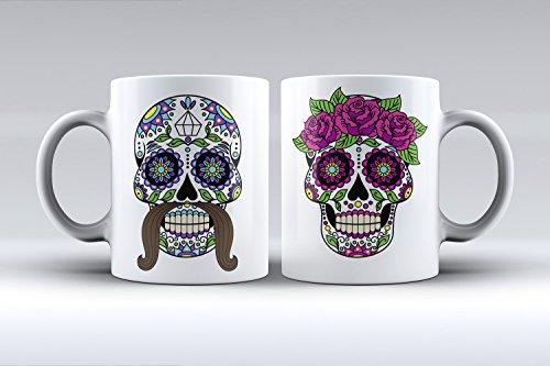 Pack 2 tazas ilustración calavera mejicana estampada hombre y mujer d