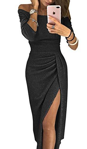 ZIYYOOHY Damen Elegant Schulterfrei Abendkleider Midi Bodycon 3/4-Arm Gl