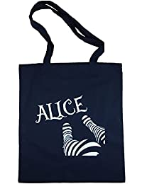 Alice in Wonderland Ladies Legs Black Cotton Tote Shopping Bag