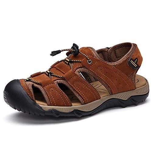 len Für Männer Atmungsaktive Sommer Strand Schuhe Geschlossene Zehe Klettverschluss Gurt Walking Fisherman Rutschfeste Bequeme Freizeitmode Obere Einstellbare Slipper ()