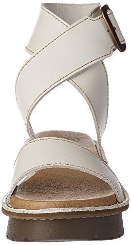 FLY London Kiba465, Sandales Bride Cheville Femme Blanc Cassé (Off White 002)