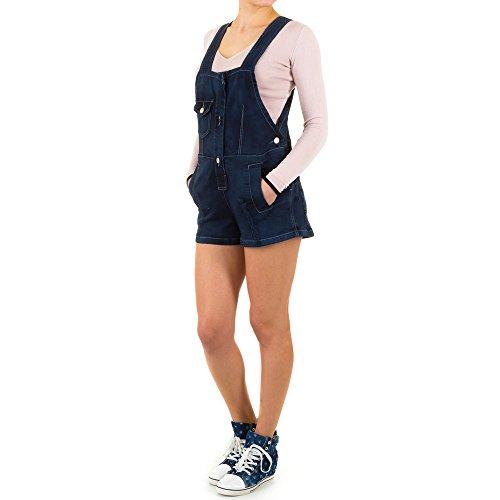Damen Shorts, DESTROYED JEANS LATZ SHORTS, KL-83136 Blau