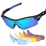 Tsafrer - occhiali sportivi polarizzati unisex con 6 lenti intercambiabili; occhiali da uomo e donna per bicicletta, guida, corsa, pesca, golf, sci; montatura infrangibile TR90, Black Blue