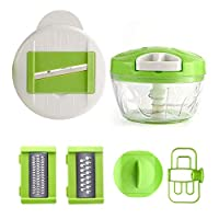 Onion Choppers, SHAREMI Manual Vegetable Slicer Fruit Chopper Easy Clean Mixer Multifunction Kitchen Tool for Carrot, Potato, Cucumber, Onion, Pesto, Egg (Green)