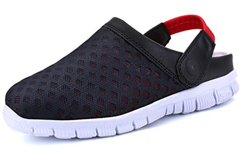 Gaatpot Clogs Pantoletten Unisex-Erwachsene Slip on Outdoor Hausschuhe Freizeit Mesh Strand Sandale Schuhe Sommer Rot 45 EU = 46 CN