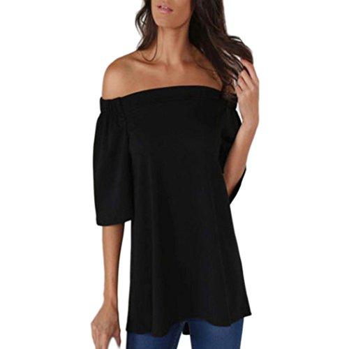 Femmes Chemisier, OverDose Sexy Tops IrréGulier Off The Shoulder DéContractéE Court Manche T-Shirt Tops Divisé Chemisier Noir