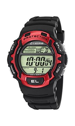 Calypso watches – Reloj digital de cuarzo para hombre con correa de plástico, color negro
