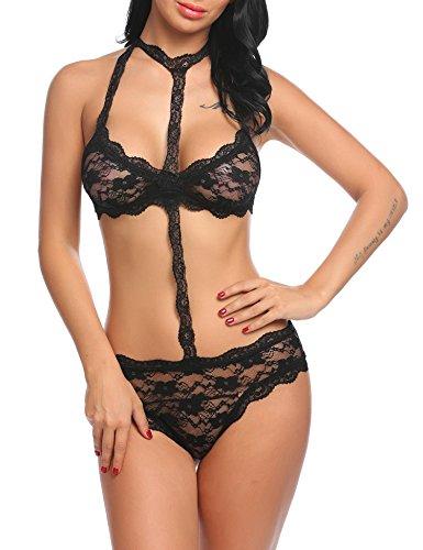ADOME Sexy Dessous Set, Reizvolle Lingerie Erotik Reizwäsche Lace Unterwäsche Spitze BH und Slips