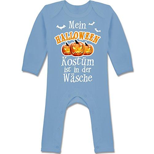 Halloween Kostüm ist in der Wäsche - 3-6 Monate - Babyblau - BZ13 - Langarm Baby-Strampler / Schlafanzug für Jungen und Mädchen (3 Monat Altes Halloween Kostüm)