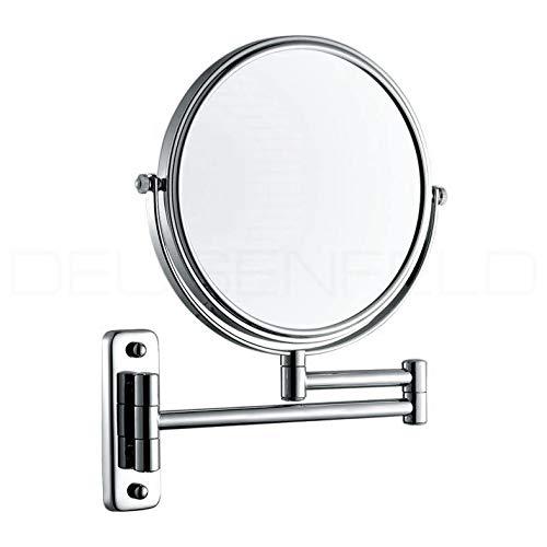 DEUSENFELD K7C - Doppel Wand Kosmetikspiegel 7-Fach Vergrößerung und Normal, Ø 20cm, verchromt