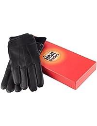Heat Holders - Gants cuir homme noir chauds hiver toison doublés en 2 tailles