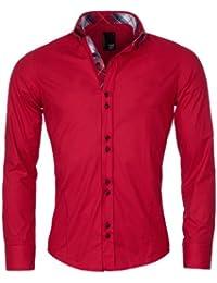 Herren Hemd langarm slimfit einfarbig Business Kontrast Karo von YR rot M