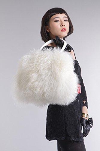 Vogueearth Donna'Vero Mongolia Agnello Pelliccia Inverno Più Caldo Borsetta Bianco