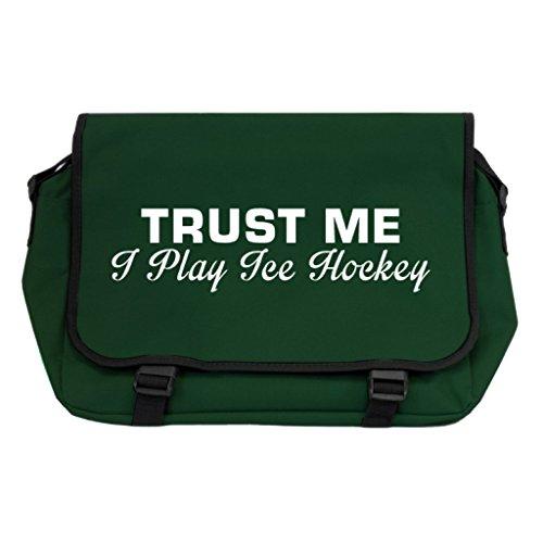 Trust Me I Play Ice Hockey Messenger Bag-Flasche Grün -
