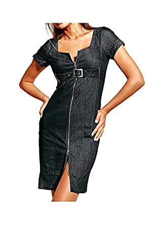 rick cardona damen kleid jeanskleid schwarz gr e 36. Black Bedroom Furniture Sets. Home Design Ideas