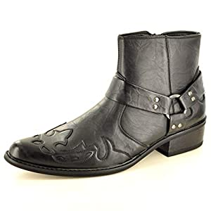Mens Gents Pointed Toe Full Zip Western Cowboy Ankle Boots