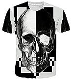 Goodstoworld Nero Bianco Stampa Skull Shirt Uomo Donna Estate Gotico Casual Tshirt Manica Corta Tee Tops Abbigliamento...