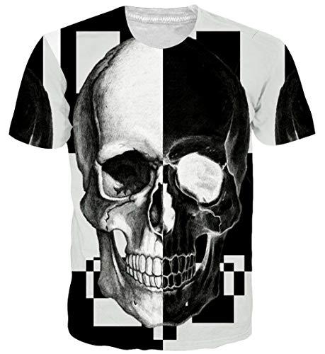 Goodstoworld Negro Blanco Skull Print Shirt Hombres Mujeres...